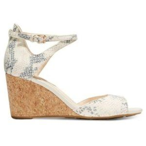 Cole Haan Snake Skin Open Toe Wedge Sandals Size 9